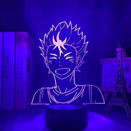 Haikyuu Yu Nishinoya Luz Nocturna lnfantil con Control Remoto Luz Quitamiedos Bebé con 10 Brillos Ajustables y 16 colores RGB para Habitación Dormitorio Sala Pasillos