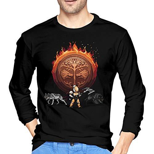 De-STI_NY 2 Camiseta de algodón para Hombre Fashion Camiseta de Manga Larga con Cuello Redondo Pequeño Negro
