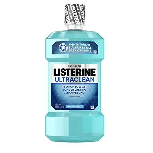 Listerine Ultraclean Oral Care - Enjuague bucal antiséptico con tecnología Everfresh para ayudar a combatir el mal aliento, gingivitis, placa y sarro, menta ártica, 1 l