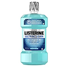 Listerine Ultraclean Oral Care Antiseptic Mouthwash to Help Fight Bad Breath Germs, Gingivitis, Plaque and Tartar, Oral Rinse for Healthy Gums & Fresh Breath, Artic Mist Flavor, 1 L