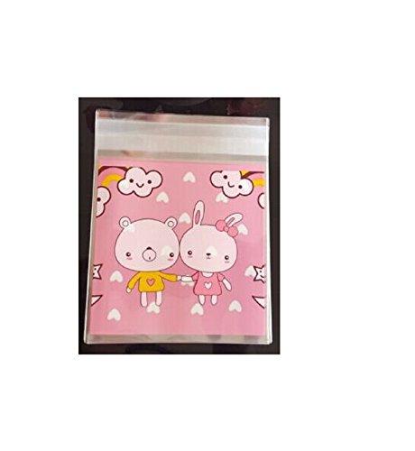Miya® 50er Set süß schweinchen, liebevolle selbstklebende Tütchen 10x11cm+Klappe 3cm, Adhäsionsverschluss Beutel, Keks Kuchen Gebäck Verpackung Tüten,