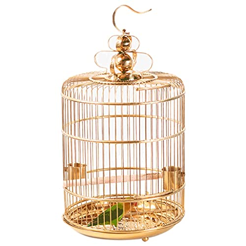 ZANZAN Stainless Steel Bird Cage With Rolling Stand,Gold Wire Bird Cage With Feeder And Tray,Vintage Bird Flight Cage-Gold (Size : Small)