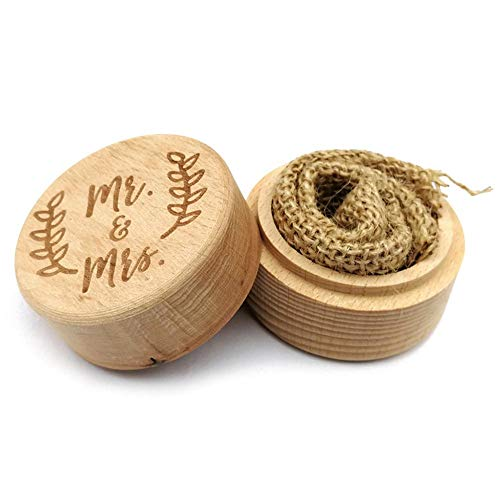 Prosperveil Wedding Ring Box Rustic Wooden Engraved Leaf Engagement Ring Bearer Box for Wedding Day Anniversary Jewelry Accessories Gift (Mr & Mrs)