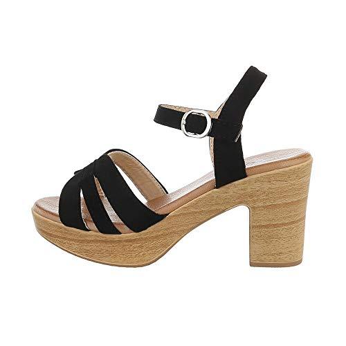 Ital Design Damenschuhe Sandalen & Sandaletten High Heel Sandaletten, E016-1-, Kunstleder, Schwarz, Gr. 37