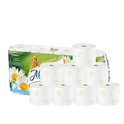 Familiewc-papier, 3-laags, groot pakket, werk, keuken, zijdepapier, print, toiletpapier, huidvriendelijk, rolpapier voor woonkeuken, eettafel, 8 rollen