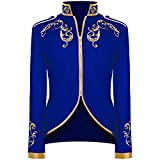 Crubelon Men's Court Fashion Prince Uniform Gold Embroidered Jacket Suit Jacket (L, Blue)