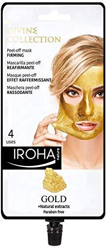 Iroha Nature -Mascarilla Facial Reafirmante Peel Off con Oro 24k, 1 packs 4 usos | Mascarilla Peel-Off ORO 24K Reafirmante