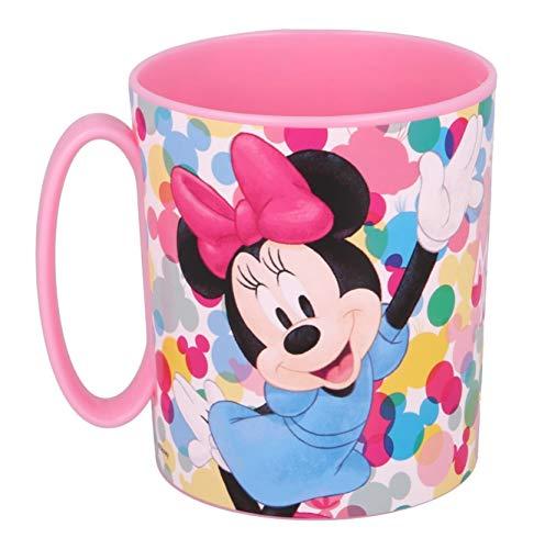 Theonoi Taza de plástico de 350 ml a elegir: Minnie – Princess – Frozen – PAWPatrol – Taza con asa de plástico libre de BPA, apta para microondas / regalo para niñas – Minnie Mouse