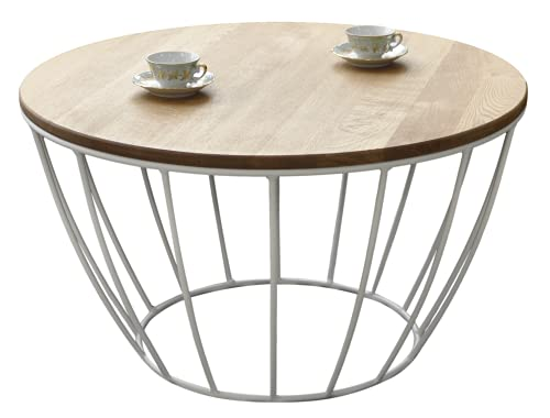 Lumarc Napoli, Tavolino da Salotto in Legno Massello di Quercia Naturale dal Design Moderno Industriale Minimalista, Rotondo, Ø70x40 cm