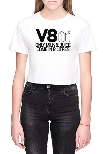 V8 - Only Milk & Juice Come In 2 Litres Dames Crop T-Shirt Wit Women's Crop T-Shirt White