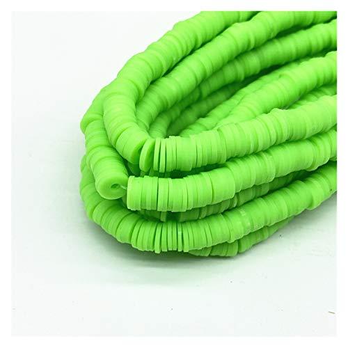 WEIMEIDA JQBB430 - Cuentas redondas planas de arcilla de polímero de 8 mm, espaciadoras sueltas hechas a mano para hacer joyas, pulseras y encontrar colores mixtos SGNTZ (color: verde claro)