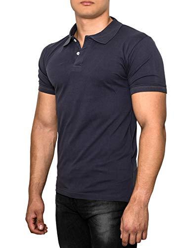 Crone Paul Herren Polo Shirt Pique Slim Fit Kurzarm Polohemd (XL, Dunkelblau)
