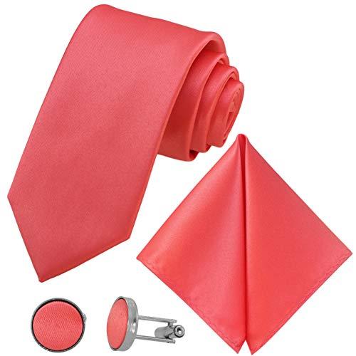 GASSANI 3-SET Krawattenset 8cm Breit, Lange Coral-Rote Herren-Krawatte Manschettenknöpfe Einstecktuch, Hochzeitskrawatte Bräutigam Schmal Extra-Lang