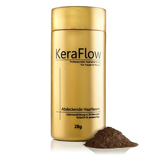 KeraFlow® PREMIUM Streuhaar zur Haarverdichtung - Schütthaar für volles Haar in Sekunden - Hair Fibers zum Kaschieren von lichten Haaren - Haarpulver gegen kahle Stellen - 28g (MITTELBRAUN)
