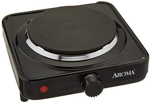 Aroma Housewares AHP-303 Single Burner Hot Plate, Black