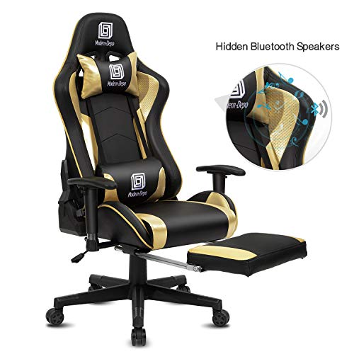 Modern-Depo High-Back Swivel Gaming Chair Recliner with Bluetooth 4.1 Speakers, Footrest, Headrest and Lumbar Support | Height Adjustable Ergonomic Office Chair - Black & Gold black chair gaming