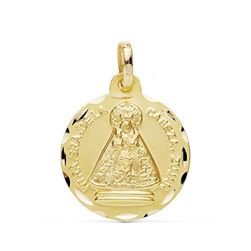 Medalla Oro 18K Virgen Cabeza 18mm. [Ab0780Gr] - Personalizable - Grabación Incluida En El Precio