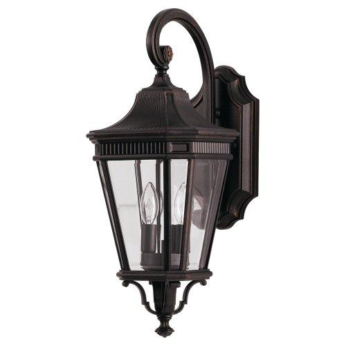 Feiss OL5401GBZ Cotswold Lane Outdoor Patio Lighting Wall Lantern, Bronze, 2-Light (9u0022W x 21u0022H) 120watts