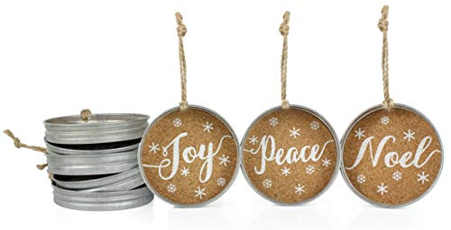 AuldHome Mason Jar Lid Christmas Ornaments, Farmhouse Decor (Set of 6), Rustic Galvanized Hanging Decorations with Peace, Joy, and Noel