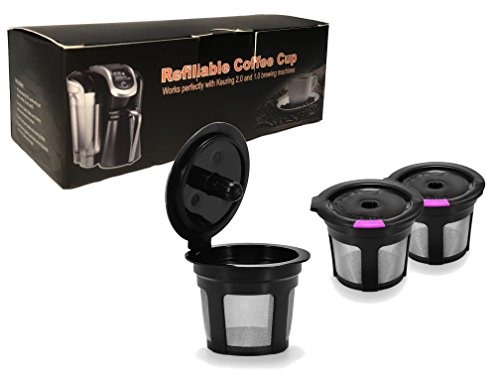 Reusable K Cups 3 Pack Black & Purple For Keurig 2.0 & 1.0 Brewers Universal Fit For Refillable Single Cup Coffee Filters - Eco Friendly Stainless Steel Mesh Filter BPA Free by A&N Direct