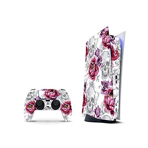 PS5 Digital Skin Console Controllers De 46 North Design, 3M Technology Calidad Que Calcomanías Coche, Rose Pink Skull Heavy Metal Rock Música, Duradera, Fabricado En Canadá