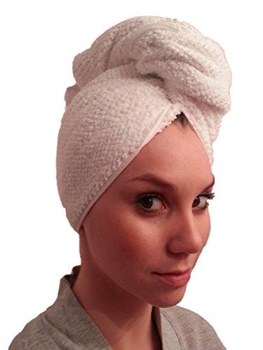"""Premium Cotton Bath Hair Wrap, Hair Drying Towel, Hair Towel - White,""""NOT Microfiber"""""""