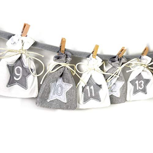 Frau WunderVoll® Adventskalender zum Befüllen - Stoff, grau weiß/Weihnachtskalender,Zahlen,Beutel,Sack,Säcke,Säckchen,Stoffbeutel,Baumwolle,Baumwollsäckchen,Geschenkbeutel,Bastelset