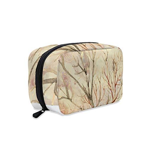 Kosmetiktasche, Make-up-Tasche, Kulturbeutel, tragbare Make-up-Tasche für Frauen, perfekt für Reisen/den täglichen Gebrauch, erdige natürliche Koralle, cremig, elfenbeinfarben
