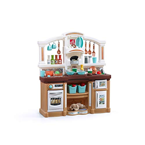 Step2 Fun with Friends Kitchen | Large Plastic Play Kitchen with Realistic Lights & Sounds | Brown Kids Kitchen Playset & 45-Pc Kitchen Accessories...