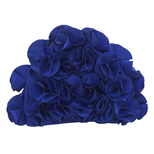 iKulilky Badmuts dames vintage bloemenpatroon badmuts retro mode volwassen haarverzorging comfort - koningsblauw
