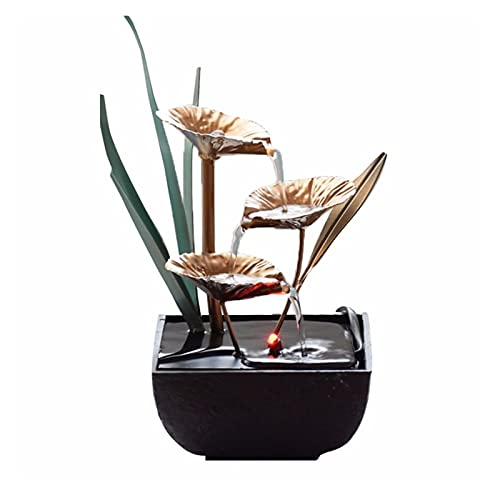 Fuentes De Agua Interior - Resina Artesanía Regalos Feng Shui Wheel Drktop Fountain para La Oficina En Casa Decoración De La Casa De Té (Color : A)