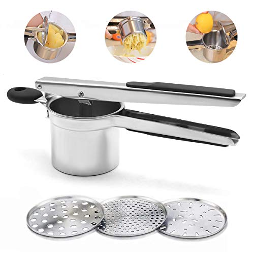 Potato Ricer Fruit and Vegetable Masher with 3 Interchangeable Discs...