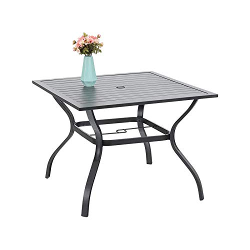 PHIVILLA Garden Table 94 * 94cm Outdoor Dining Table with Steel Frame and Parasol Hole Square Patio Table Maintenance Free (Black)