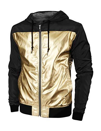 Hat and Beyond Mens Windbreaker Casual Two Tone Lightweight Hooded Jacket 1mxa07 (Medium, 1mx07_Black/Gold)