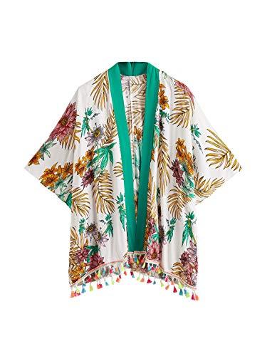 MakeMeChic Kimono de gasa para mujer, estilo bohemio, con flecos, de media manga, para playa, blusa suelta, Tropical, L