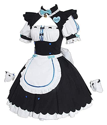 Cosplay Vêtements Nouveauté Cosplay pour Les Costumes de fête Vanille/Tablier supplémentaire Tablier de Femme de ménage Lolita Robe Gothique avec Accessoires pour Robe de Fantaisie