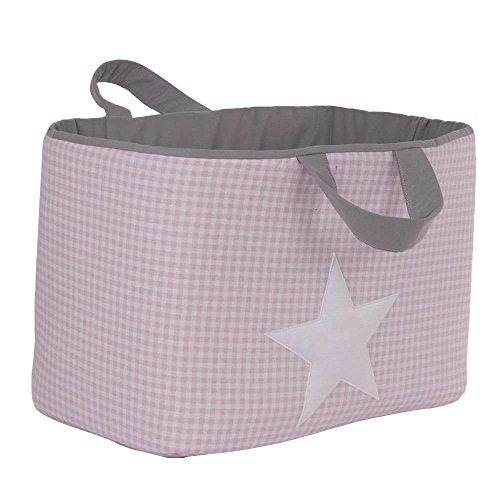 Funny Baby Vichy – Juguetero matelassé 30 x 45 x 27 cm, motif étoiles, couleur ROSE