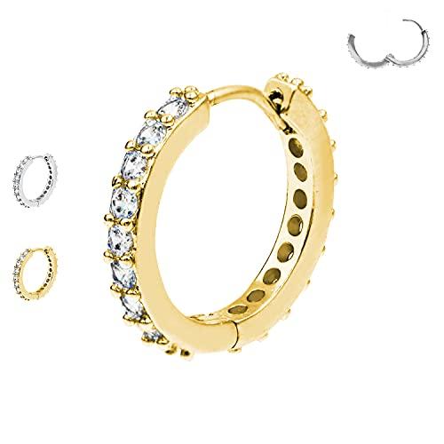 AWAKEN Piercing Orecchini Anello a Clicker Cerchio con Cristalli Swarovski Brillanti...