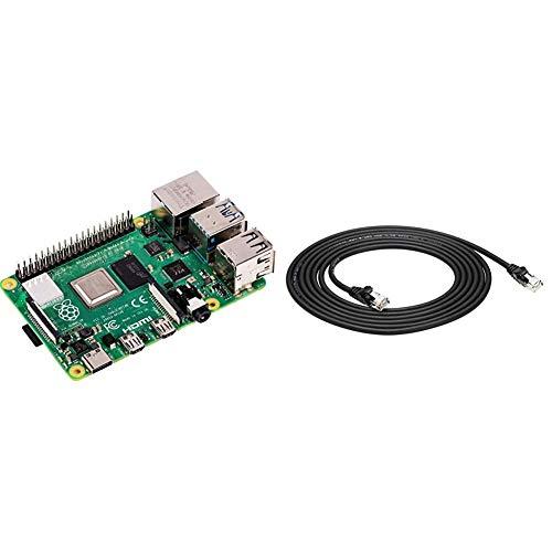Raspberry Pi 4 Modell B; 4GB, ARM-Cortex-A72 4 x, 1,50GHz, 4GB RAM, WLAN-ac, Bluetooth 5, LAN, 4 x USB, 2 x Micro-HDMI & Amazon Basics Ethernetkabel Cat6, knickgeschützt, 305 cm, 5 Stück, Schwarz