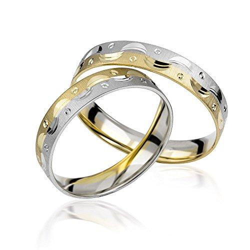 2x 585 Gold Eheringe Partnerringe Trauringe Hochzeitsringe in Bicolor *mit Gravur* C005