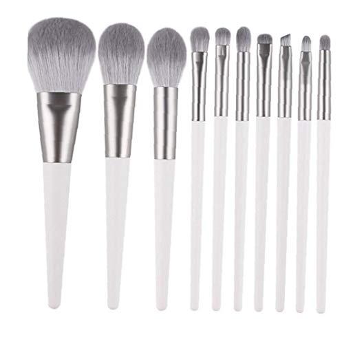 10pcs cosmétiques haut de gamme de maquillage brosse de fibres synthétiques Soies Brosse avec poignée en bois pour la Fondation Blending fard à joues Correcteur Ombre à paupières gris