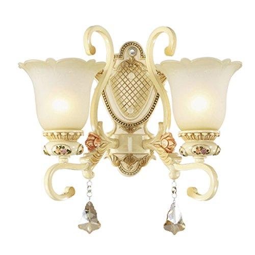 SKC Lighting-Applique murale Lampe murale en résine de luxe en Europe, salon sauvage, fond, mur, chambre, chevet, allée, rétro, mur, lampe (Couleur : Double head)