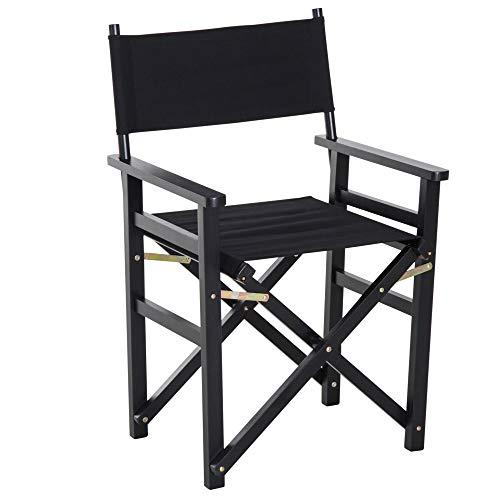 HOMCOM Beech Wooden Frame Folding Directors Chair Space Saving Oxford...