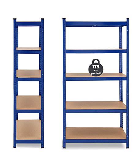 Schwerlastregal Lagerregal Kellerregal Metall Werkstattregal Regal Steckregal MAX. 875kg Tragfähigkeit, 170 x 75 x 30 cm, mit 5 MDF Regalböden, Einfache Montage - Blau