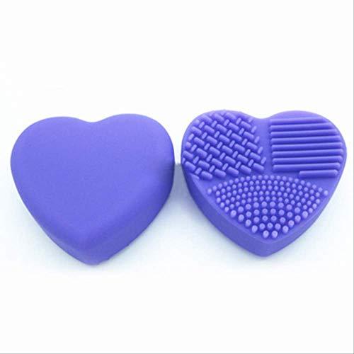1 Pièce Silicone Maquillage Brosse De Nettoyage Brosses De Maquillage Cleaner Coeur Gant Cosmétique Brosse De Nettoyage Tapis Portable un violet
