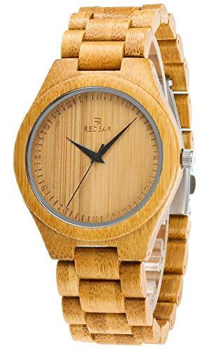 Reloj de Madera de Hombres, Relojes de Pulsera de Cuarzo Analógico de Bambú Natural, Reloj de Bambú Casual Peso ligero