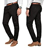 A. Salvarini Herren Designer Business Chino Hose Chinohose Regular Fit AS-095 [AS-095 - Schwarz - W32 L32]