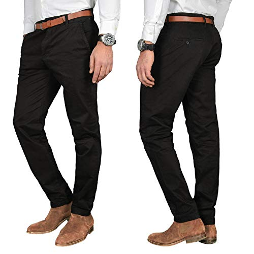 A. Salvarini Herren Designer Business Chino Hose Chinohose Regular Fit AS-095 [AS-095 - Schwarz - W38 L34]