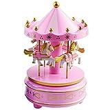 XYDZ Caja de Música Tiovivo, Caja de Música Europea con 4 Caballos con Carrusel de Música Juguete de Regalo de los Niños Navidad, Cumpleaños - Rosa