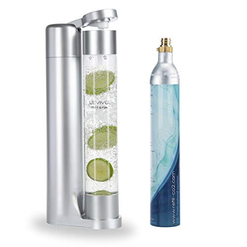 Levivo Wassersprudler Fruit & Fun Sprudler Slim, mit 1-Liter-Sprudlerflasche und CO2-Kohlensäure-Kartusche, Kohlensäure für Wasser, Cocktails und andere Getränke, Farbe silber